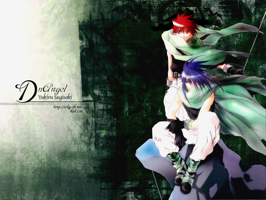 all_male cape dark_mousy dnangel gloves green jpeg_artifacts male niwa_daisuke purple_hair red_eyes red_hair staff sugisaki_yukiru