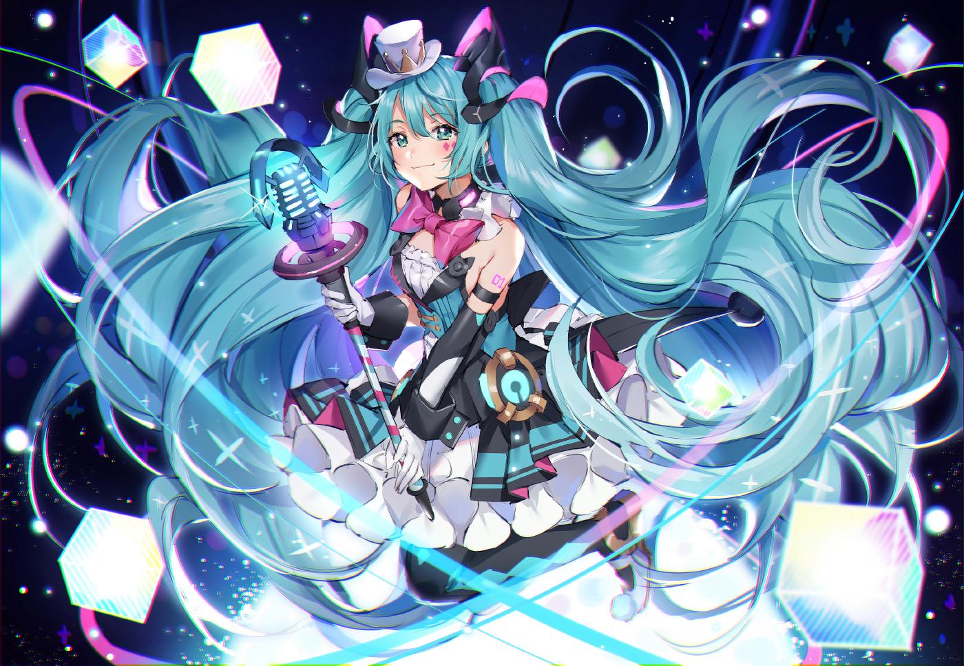aliasing hatsune_miku magical_mirai_(vocaloid) mamemena vocaloid