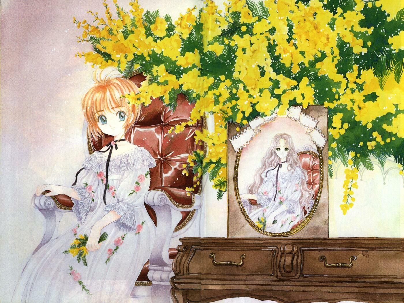 card_captor_sakura clamp dress flowers kinomoto_nadeshiko kinomoto_sakura