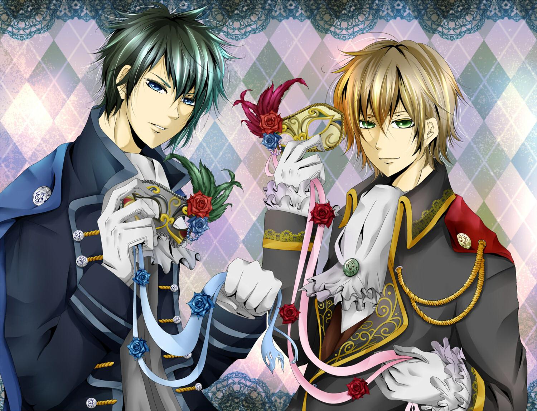 all_male blonde_hair blue_eyes flowers green_eyes male nico_nico_singer rose