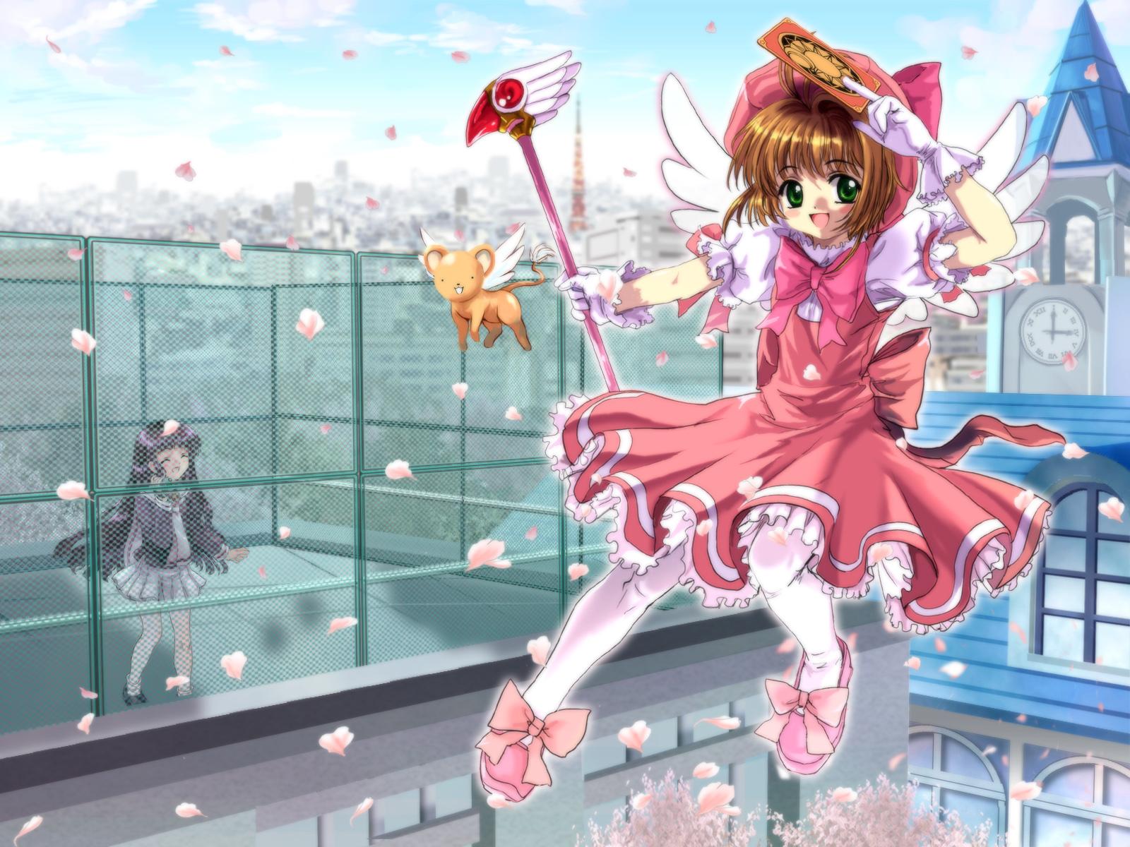 card_captor_sakura cherry_blossoms flowers kero kinomoto_sakura moonknives