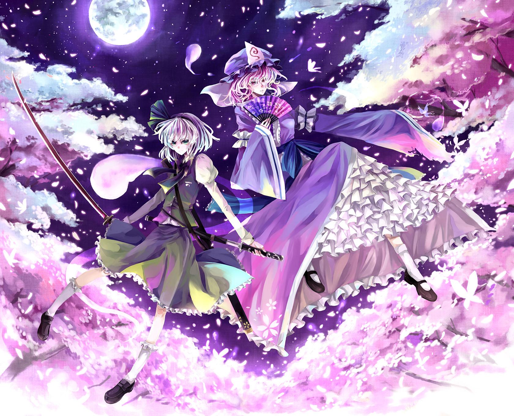 blue_eyes cherry_blossoms fan flowers hat japanese_clothes katana kimono kneehighs konpaku_youmu moon myon nako_(nonrain) petals pink_eyes pink_hair purple_hair saigyouji_yuyuko short_hair skirt sky sword touhou weapon white_hair