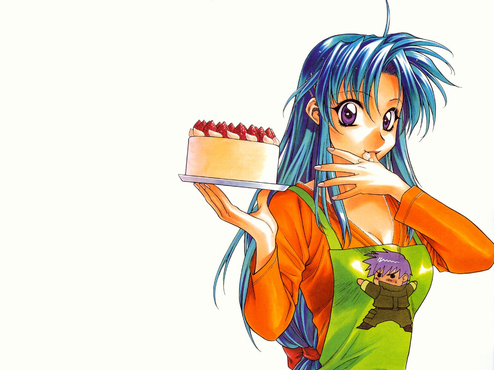 apron cake chibi chidori_kaname food full_metal_panic sagara_sousuke