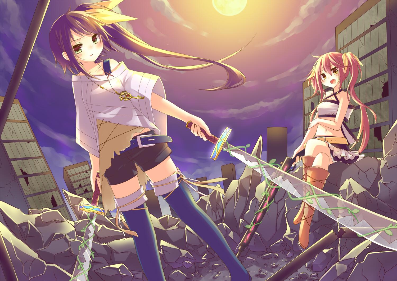 2girls amane_kurumi boots brown_eyes brown_hair green_eyes gun necklace original pink_hair ruins shorts skirt sky sword twintails weapon