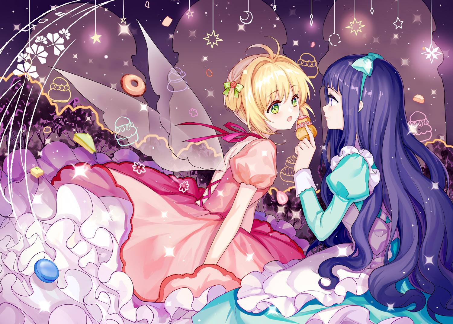 2girls apron blonde_hair blue_eyes blue_hair bow card_captor_sakura choker daidouji_tomoyo food fruit green_eyes headband kinomoto_sakura lolita_fashion long_hair mirror_(xilu4) ribbons short_hair strawberry wings