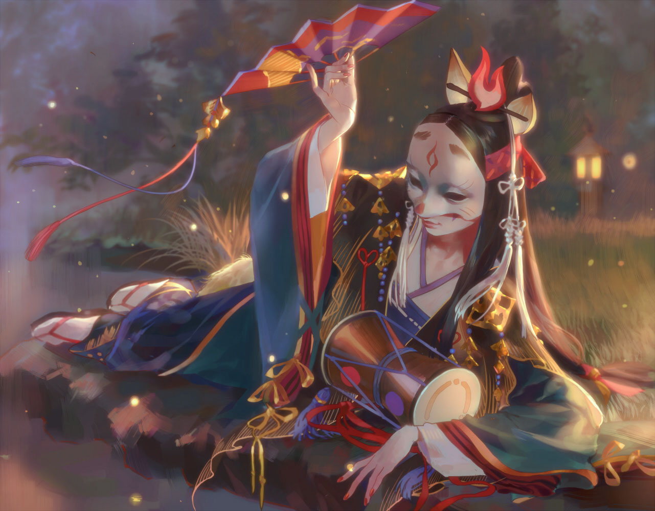 all_male animal_ears black_hair drums emg_(christain) fan grass instrument japanese_clothes kimono long_hair male mask onmyouji realistic socks tamamo_no_mae_(onmyouji)
