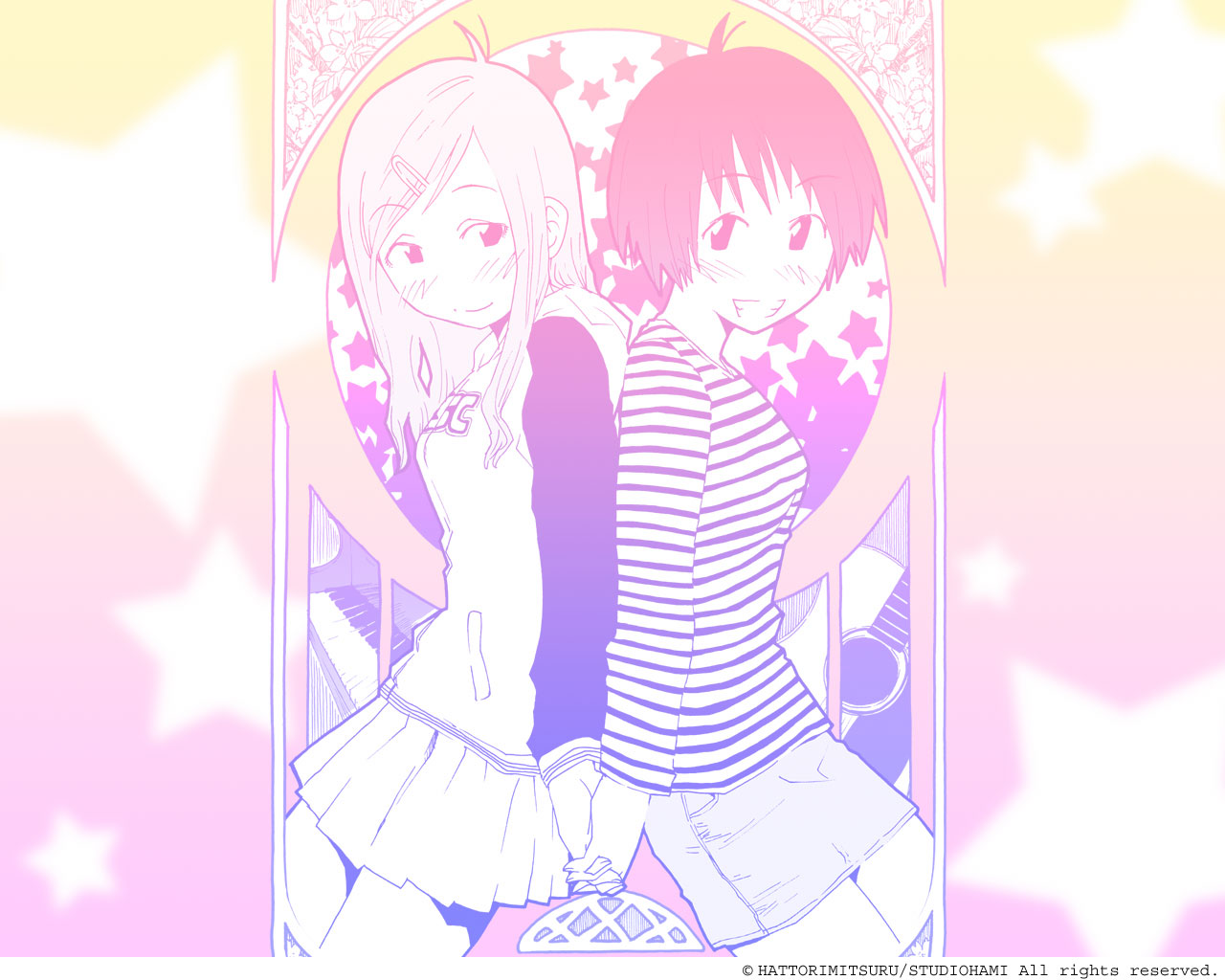2girls concerto fukagawa_ino hattori_mitsuru monochrome oosawa_hitomi skirt watermark