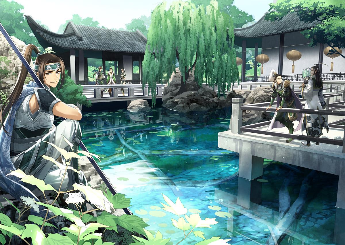 00111 all_male armor brown_eyes brown_hair jiang_wei liu_bel liu_shan male reflection shin_sangoku_musou tree water weapon xing_cai zhao_yun zhuge_liang