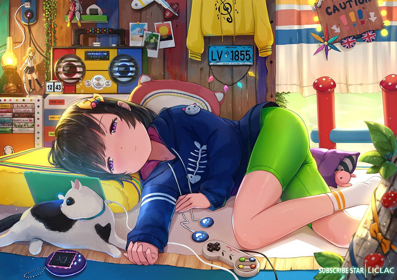 animal bed bike_shorts game_console liclac loli original shorts watermark
