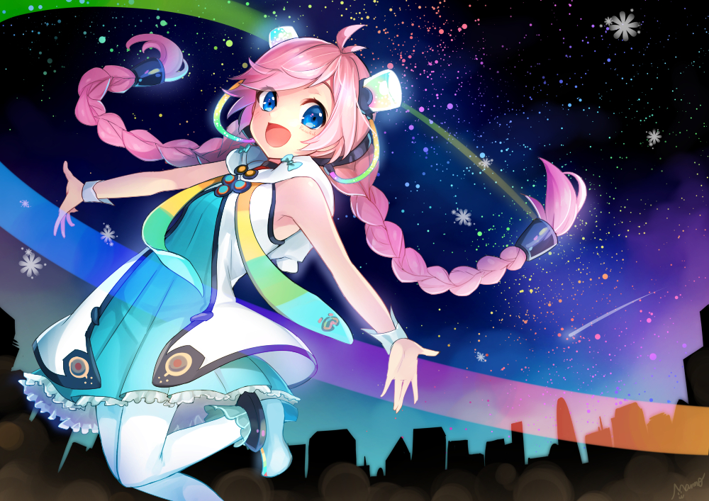 blue_eyes braids dress long_hair night pantyhose pink_hair rana_(vocaloid) signed sky stars tagme_(artist) twintails vocaloid wristwear