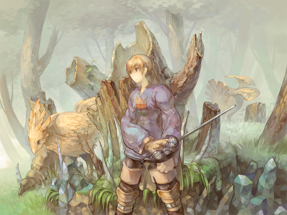 all_male black_eyes blonde_hair chocobo final_fantasy final_fantasy_tactics forest gloves grass male ramza_beoulve red_eyes short_hair sword tree wadanaka weapon