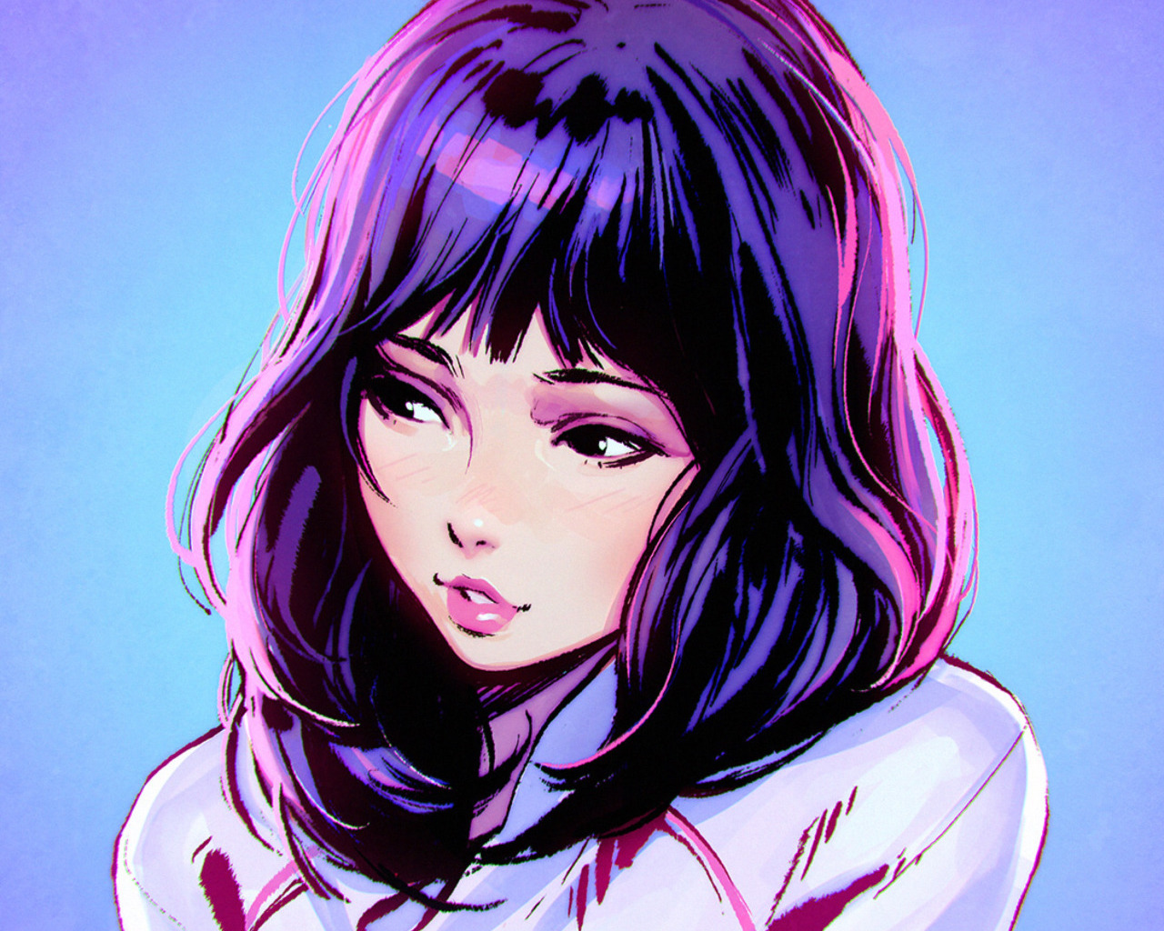 black_eyes blue close cropped ilya_kuvshinov original polychromatic purple_hair