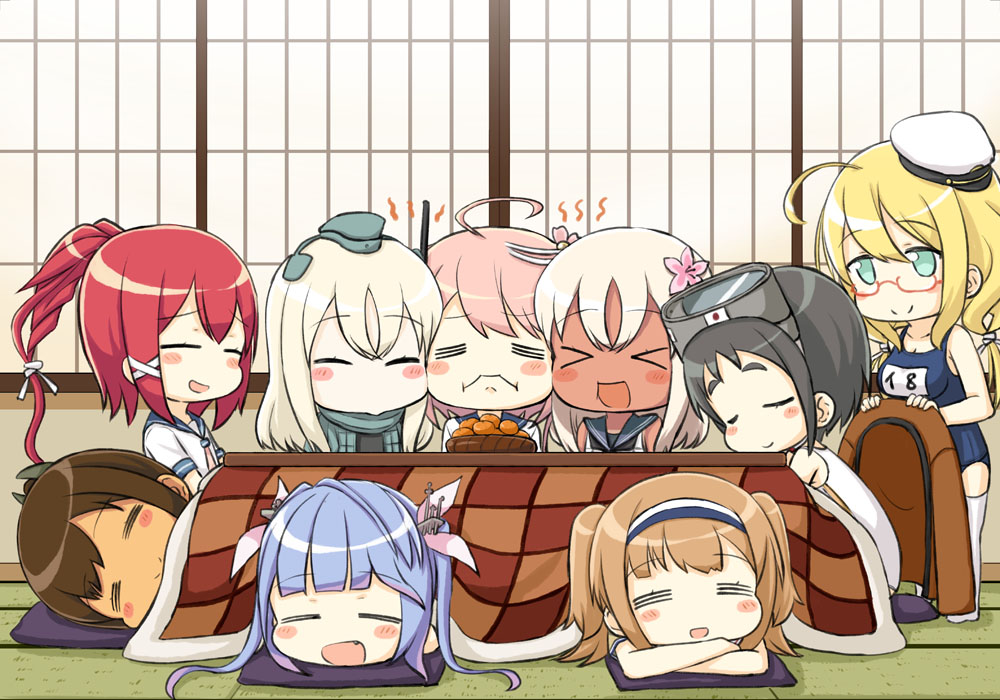 anthropomorphism black_hair blonde_hair blue_hair blush brown_hair chibi dark_skin engiyoshi fang food fruit glasses goggles green_eyes group hat headband i-168_(kancolle) i-19_(kancolle) i-26_(kancolle) i-401_(kancolle) i-58_(kancolle) i-8_(kancolle) kantai_collection kotatsu long_hair maru-yu_(kancolle) orange_(fruit) pink_hair ponytail red_hair ro-500_(kancolle) school_swimsuit school_uniform sleeping swimsuit thighhighs twintails u-511_(kancolle)