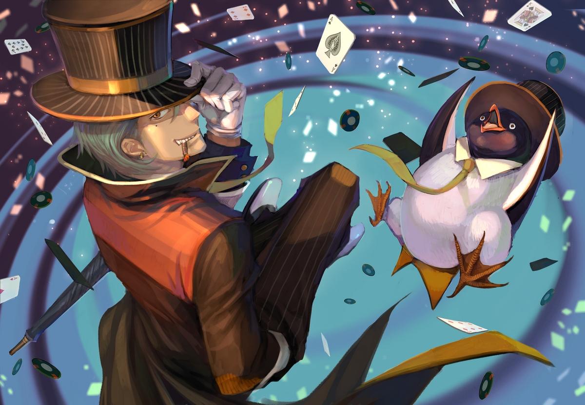 all_male animal gloves gray_hair hat male orange_eyes original penguin pixiv_fantasia short_hair smoking suit tagme_(artist) tie umbrella