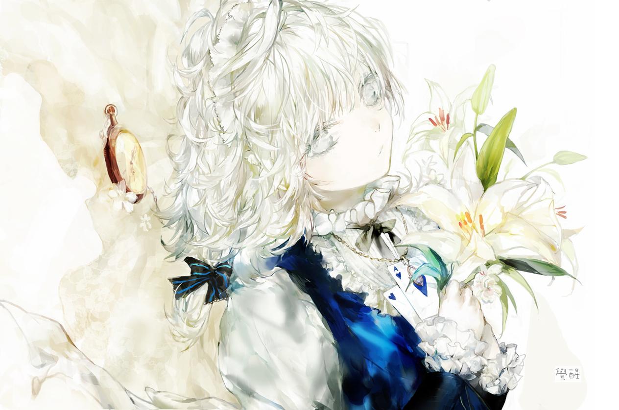 flowers izayoi_sakuya maid moemoe3345 necklace touhou white_hair