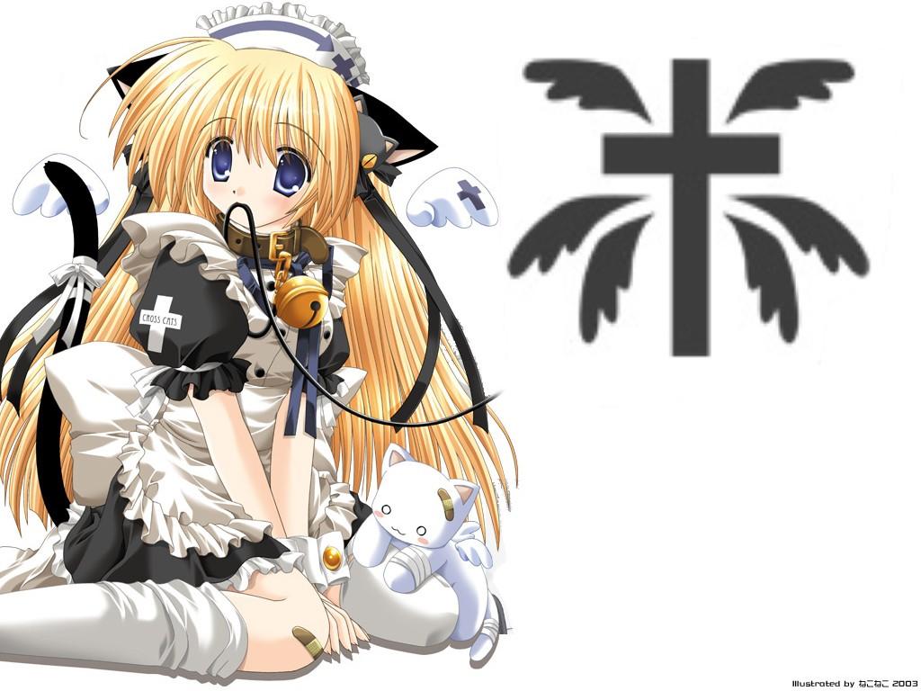 animal animal_ears bandage bandaid bell blonde_hair blue_eyes bow cat catgirl cat_smile collar headdress long_hair maid nekoneko nurse ribbons white wings