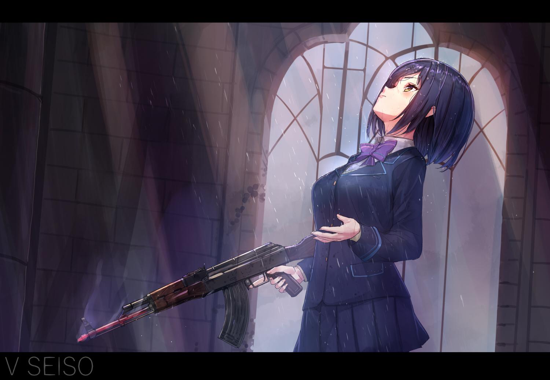 akasaai black_hair bow gun nijisanji rain school_uniform shizuka_rin short_hair skirt water weapon