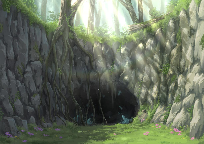 dark flowers forest grass hirose_yuki nobody original rainbow scenic shade tree