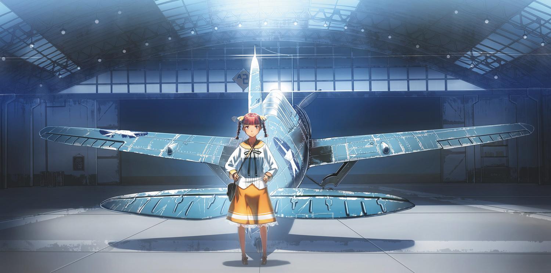 aircraft aoki_(miharuu) braids original skirt twintails