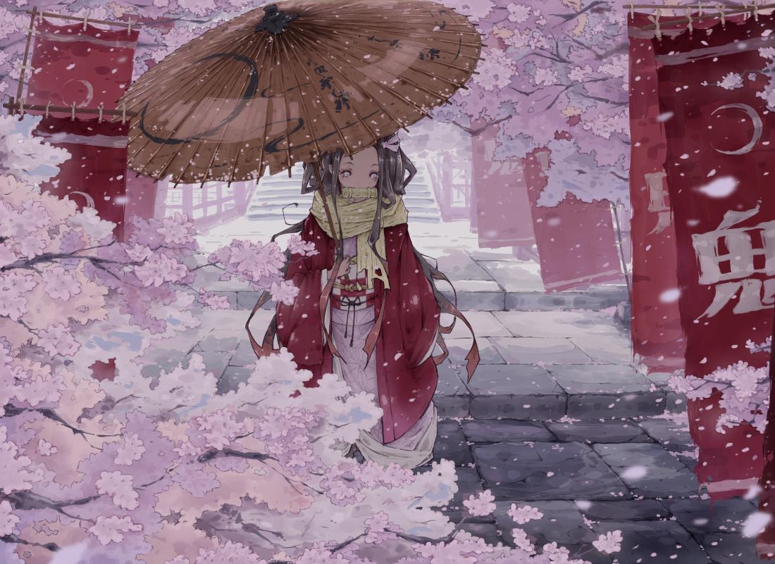 black_hair cherry_blossoms flowers gag japanese_clothes kamado_nezuko kimetsu_no_yaiba kimono kona_(konahana) long_hair petals pink_eyes stairs umbrella