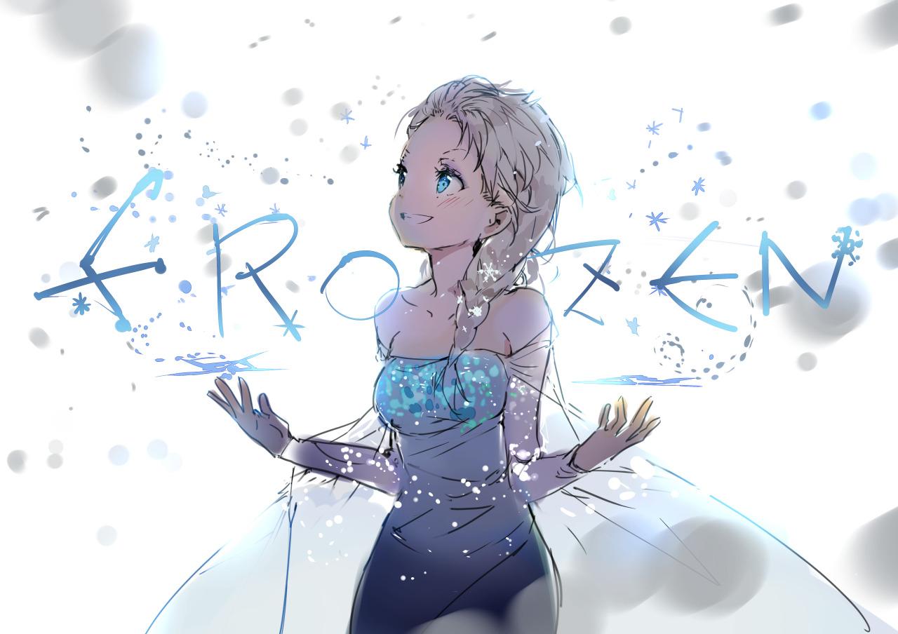 anmi aqua_eyes blonde_hair braids dress elsa_(frozen) frozen_(disney) polychromatic