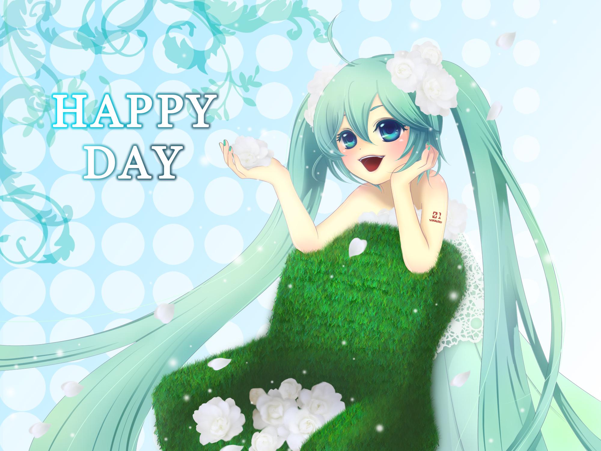 dress flowers hatsune_miku petals twintails vocaloid