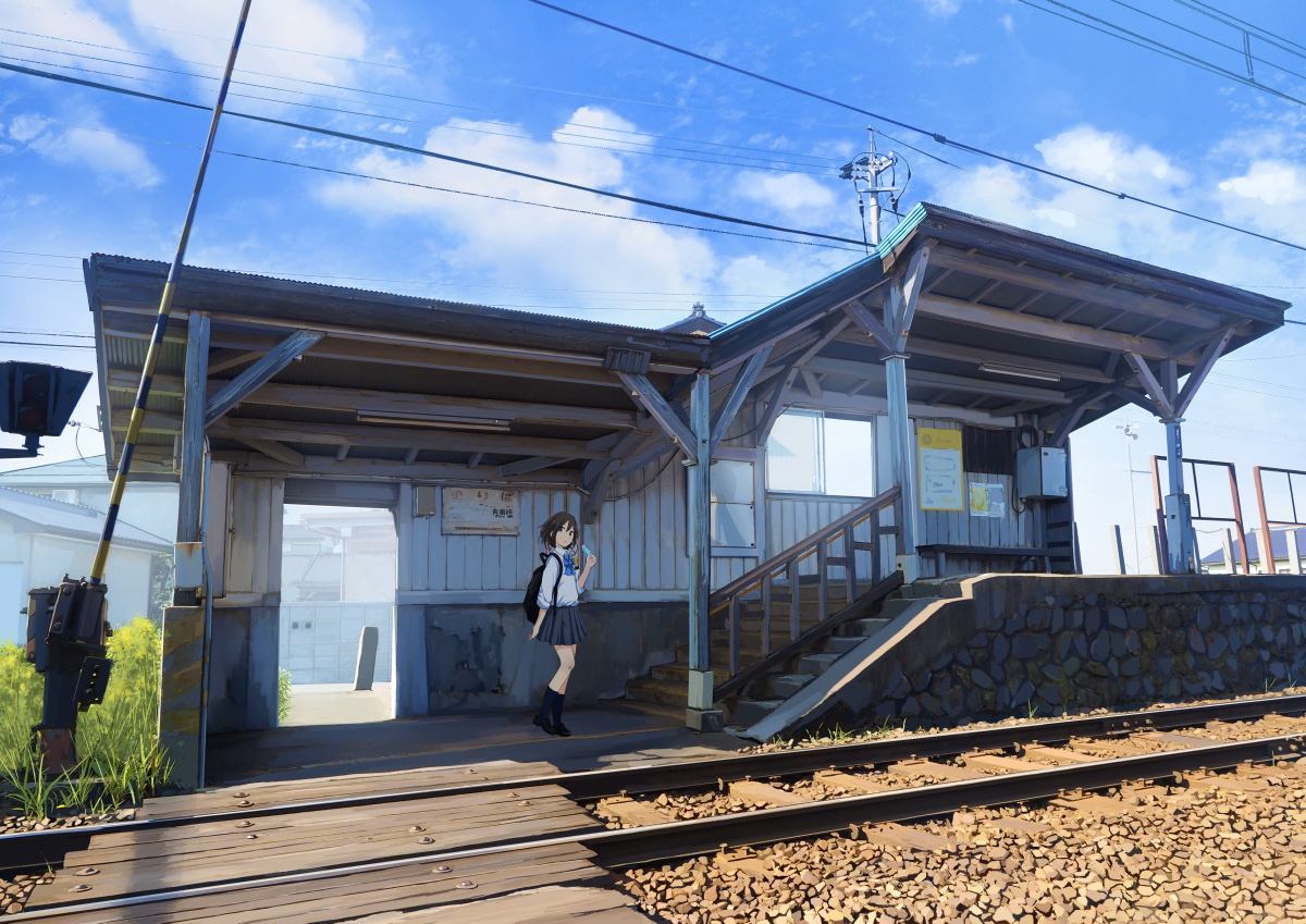 aliasing clouds food grass ice_cream jpeg_artifacts kneehighs original sakeharasu scenic school_uniform skirt sky stairs train
