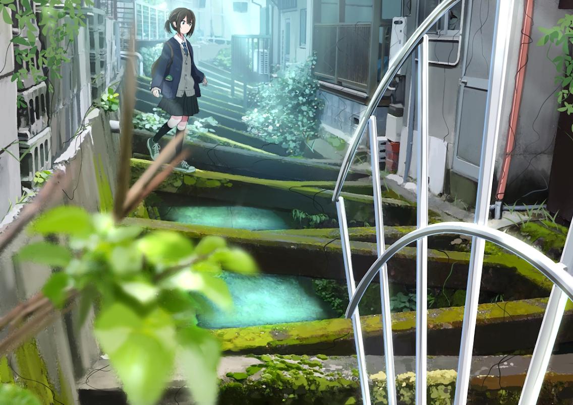 blue_eyes brown_hair building kneehighs original ruins sakeharasu school_uniform short_hair skirt tie