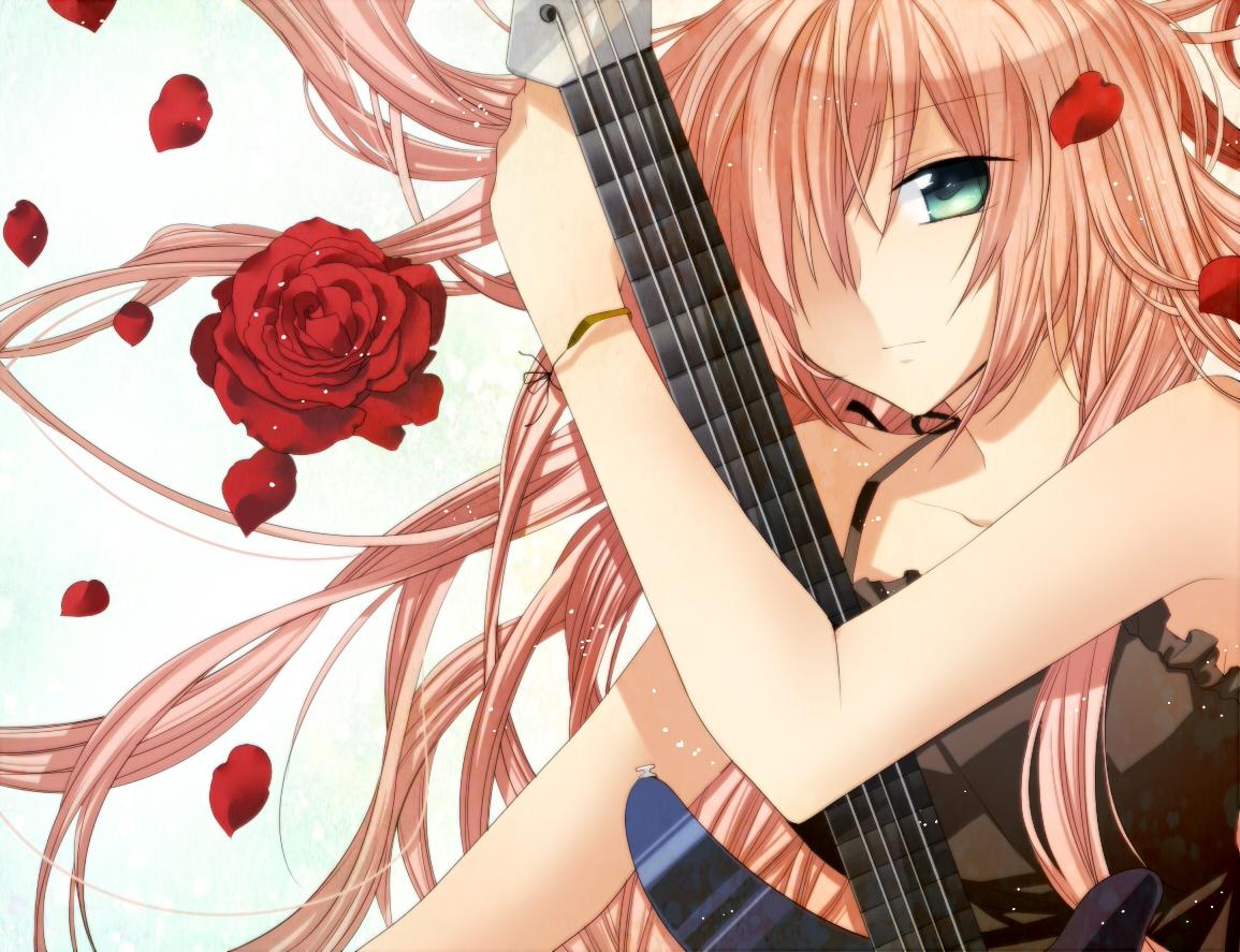 akitsuki_(akiduko) dress flowers guitar instrument megurine_luka petals vocaloid