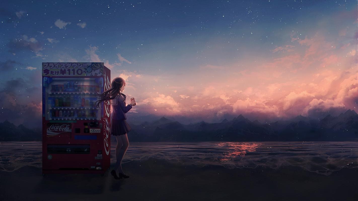 beach black_hair clouds coca_cola drink long_hair original scenic school_uniform sky stars sunset water yingsu_jiang