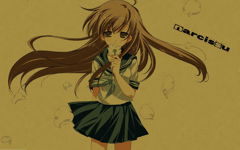 brown_eyes brown_hair flowers logo long_hair narcissu sakura_setsumi school_uniform skirt tagme_(artist)