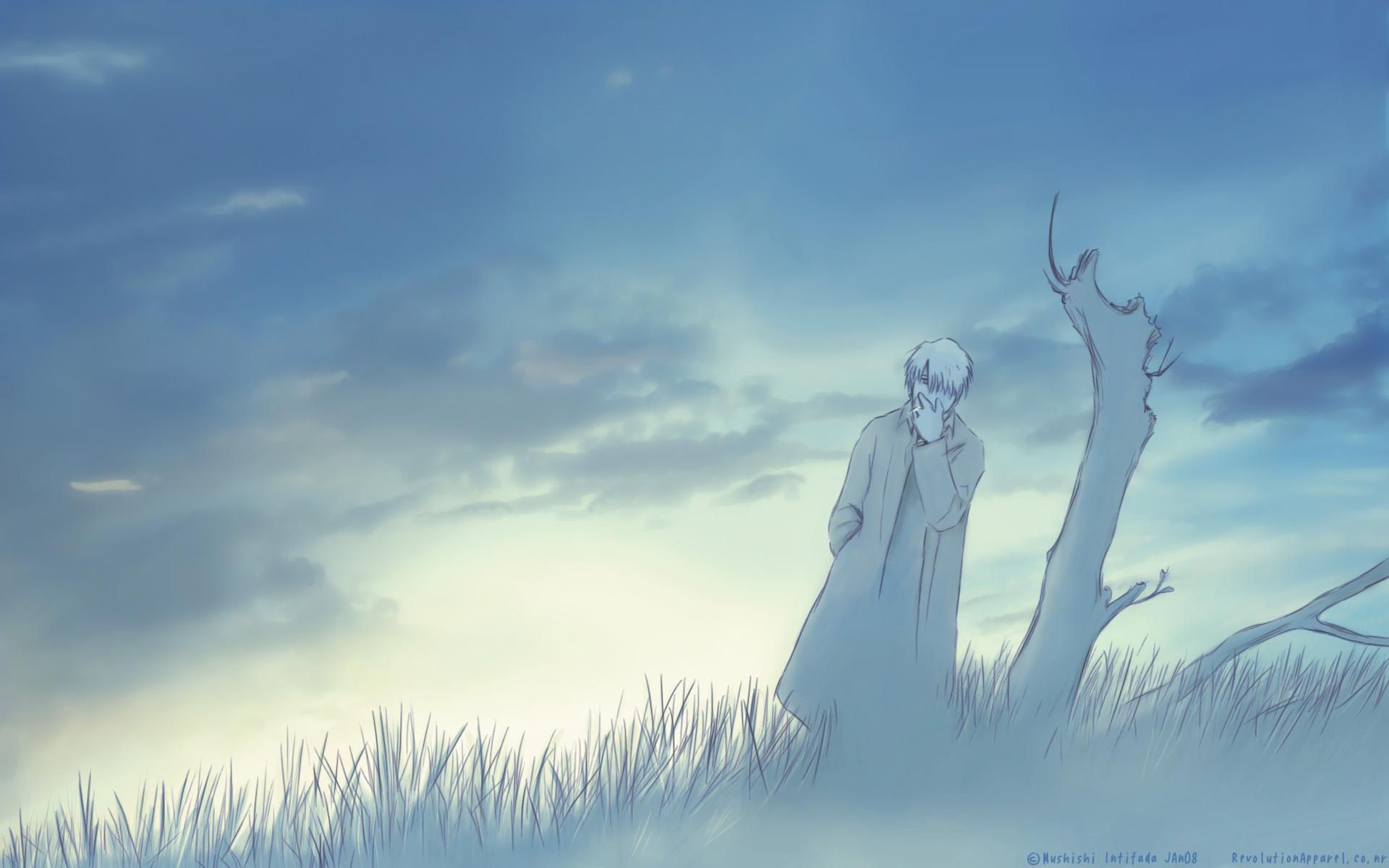 ashinano_hitoshi blue ginko_(mushishi) mushishi sky smoking