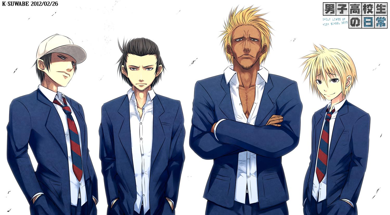 all_male danshi_koukousei_no_nichijou karasawa_toshiyuki kei-suwabe male motoharu president_(danshi_koukousei) school_uniform tie vice_president_(danshi_koukousei)