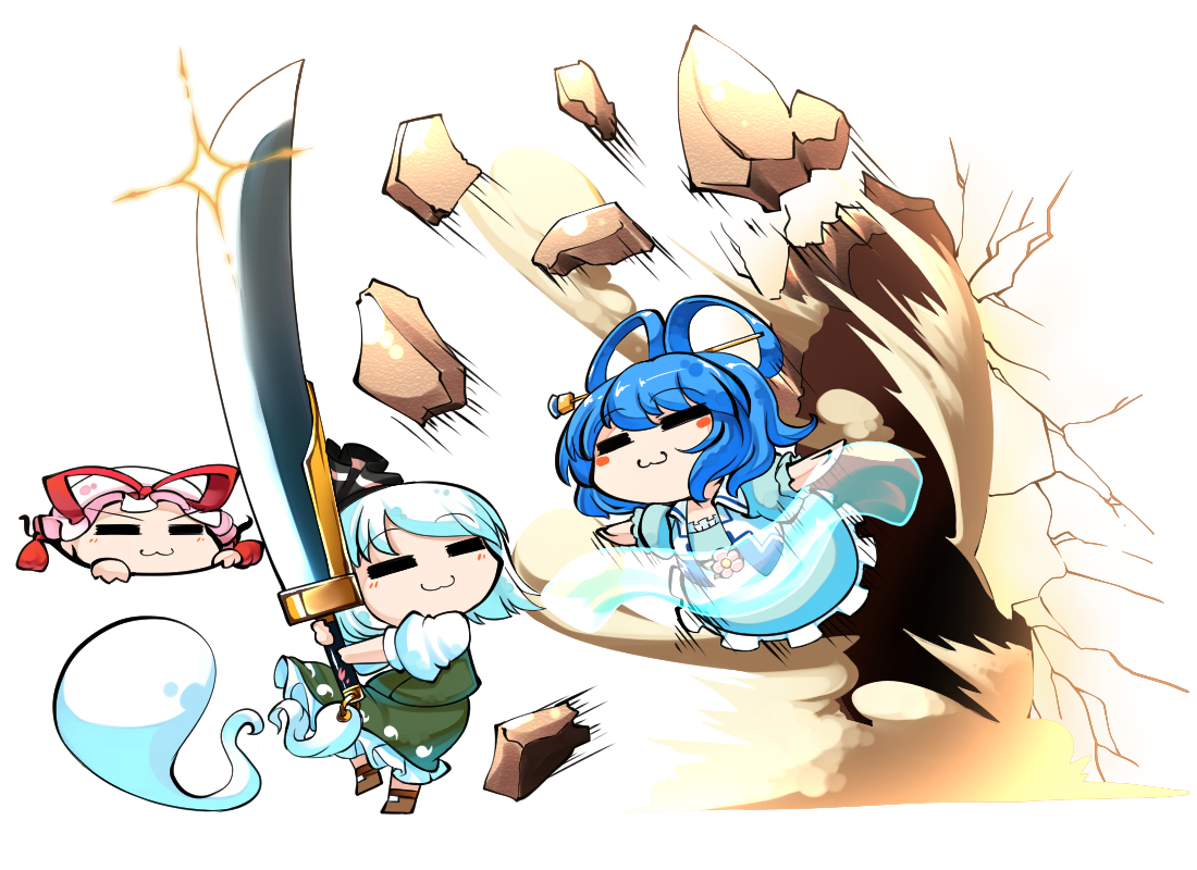 blue_hair cat_smile dress hat kaku_seiga kashuu_(b-q) konpaku_youmu myon short_hair skirt sword touhou weapon white_hair yakumo_yukari