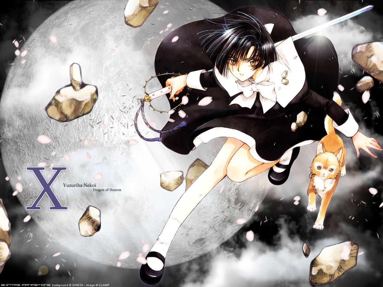 animal black_hair bow cat clamp clouds dress inuki moon nekoi_yuzuriha night orange_eyes petals planet short_hair sky sword watermark weapon x yellow_eyes