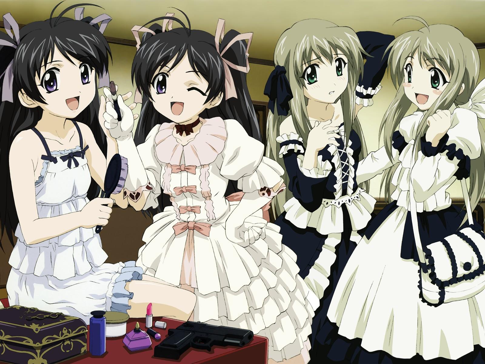 futakoi futakoi_alternative group gun lolita_fashion sakurazuki_kira sakurazuki_yura shirogane_sara shirogane_souju twins weapon