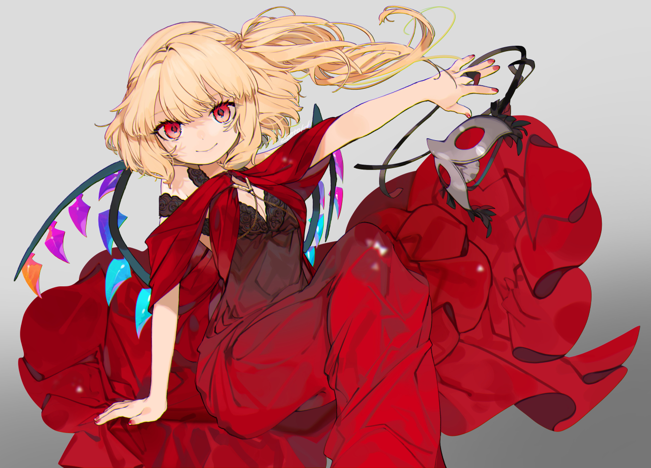 blonde_hair dress flandre_scarlet gotoh510 gradient mask ponytail red_eyes signed touhou vampire wings