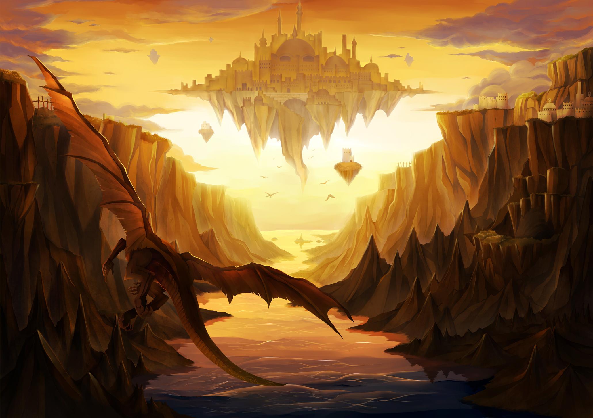 Dragon Landscape Scenic Tagme Konachan