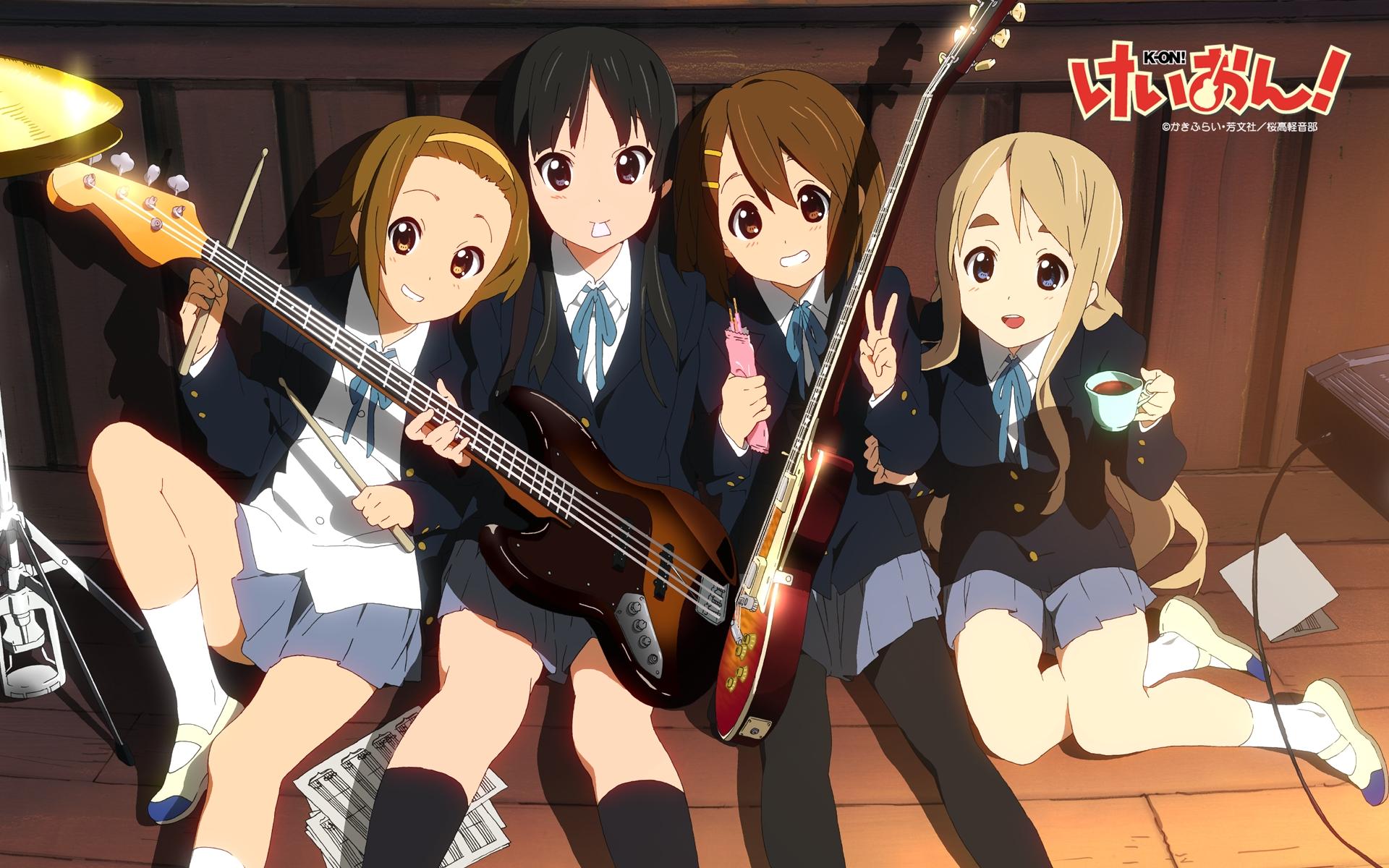 akiyama_mio food guitar hirasawa_yui instrument k-on! kotobuki_tsumugi pantyhose pocky school_uniform tainaka_ritsu
