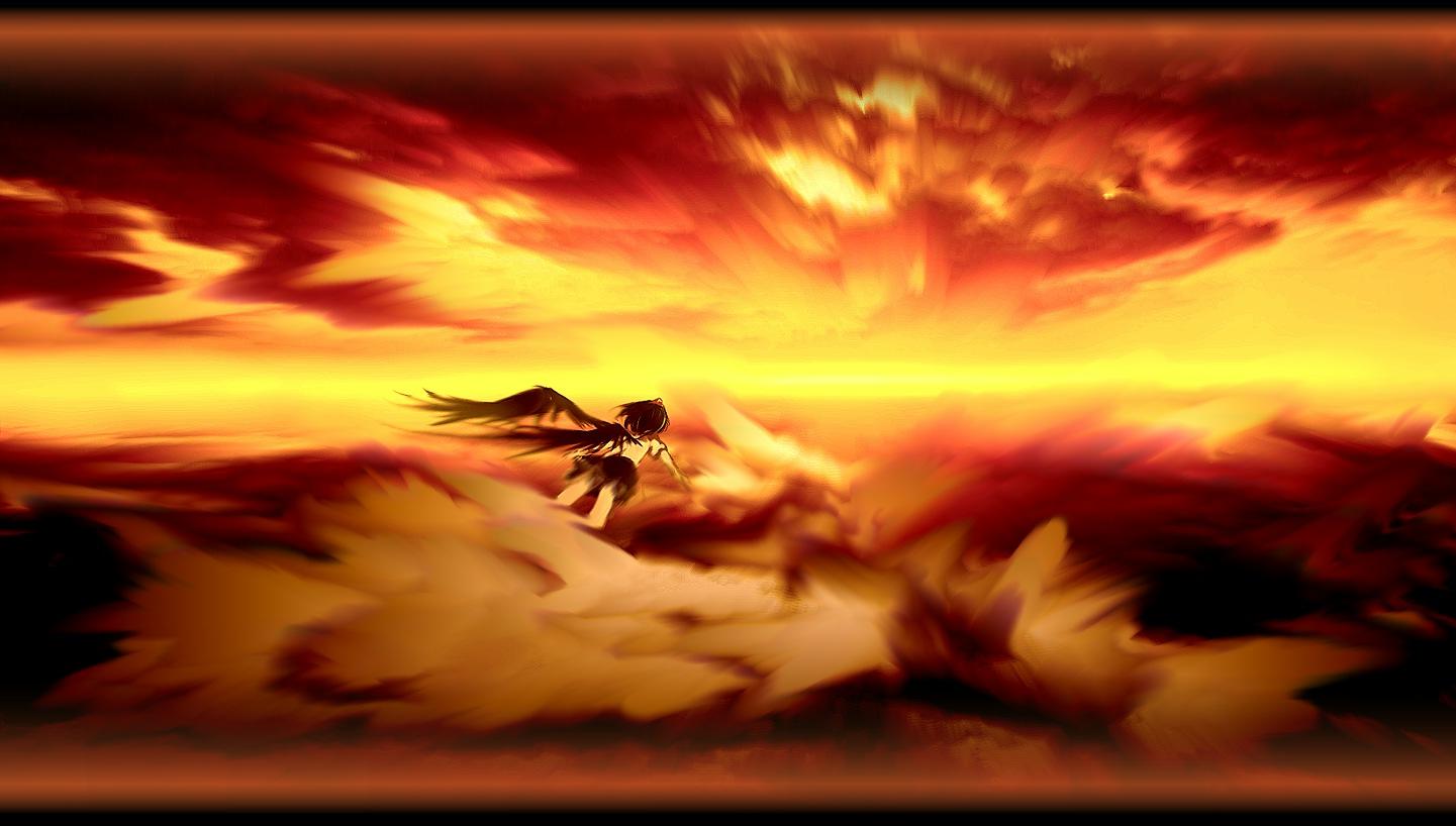 black_hair clouds seifuku shameimaru_aya short_hair sky sunset touhou wings yoshioka_yoshiko