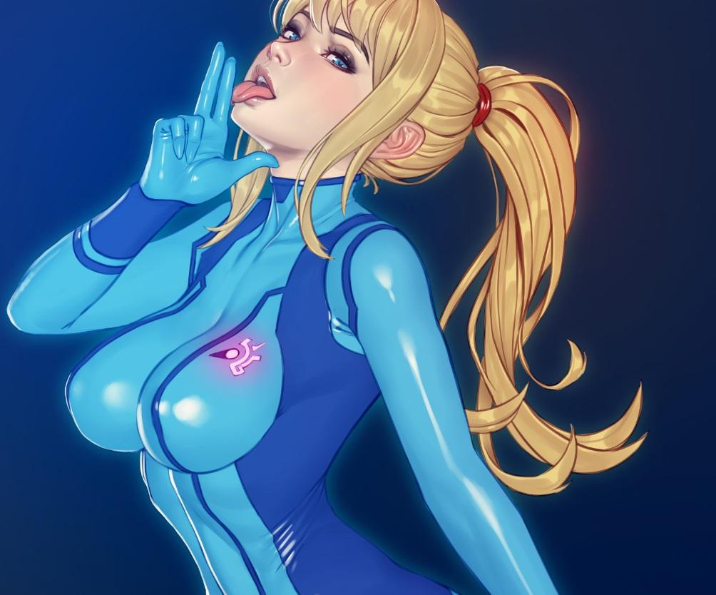 blonde_hair blue_eyes bodysuit breasts cropped gradient long_hair metroid nikita_varb ponytail realistic samus_aran skintight