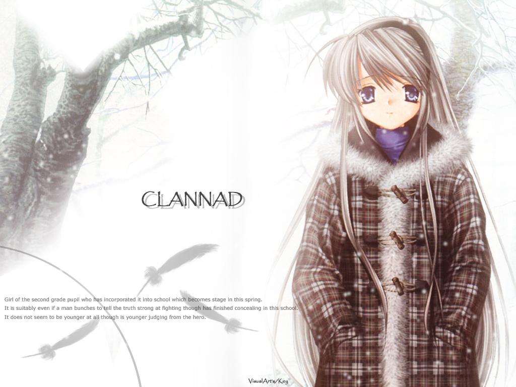 blue_eyes clannad feathers gray_hair long_hair sakagami_tomoyo snow tree winter