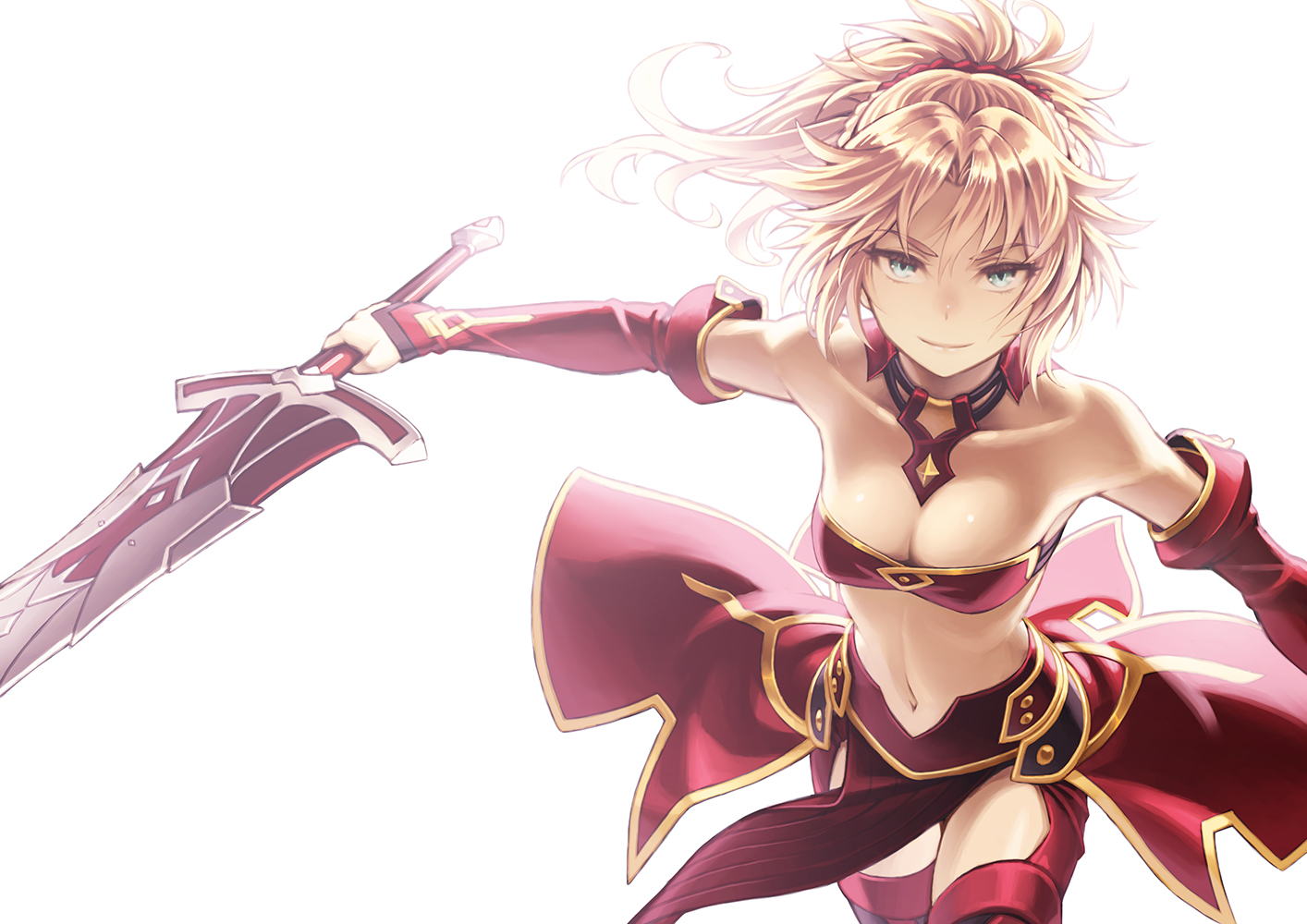 blonde_hair elbow_gloves fate/apocrypha fate/grand_order fate_(series) gloves green_eyes mordred navel ponytail short_hair sword tagme_(artist) thighhighs weapon white