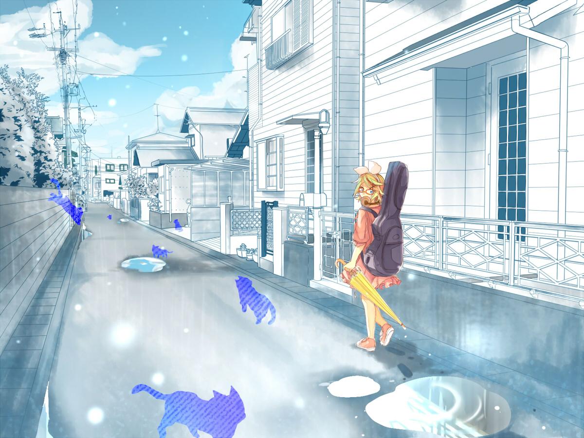 animal aqua_eyes blonde_hair building cat city clouds dress headphones instrument kagamine_rin ryou_(fallxalice) short_hair silhouette sky umbrella vocaloid water