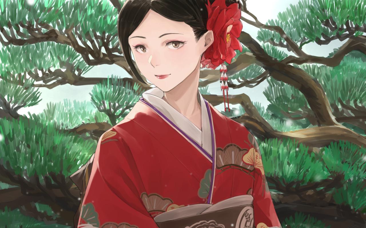 japanese_clothes kimono original somehira_katsu tree