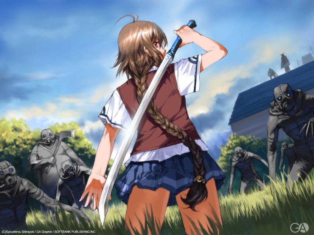 braids brown_hair building gagraphic grass logo long_hair school_uniform shirayuki_shoushirou sword watermark weapon