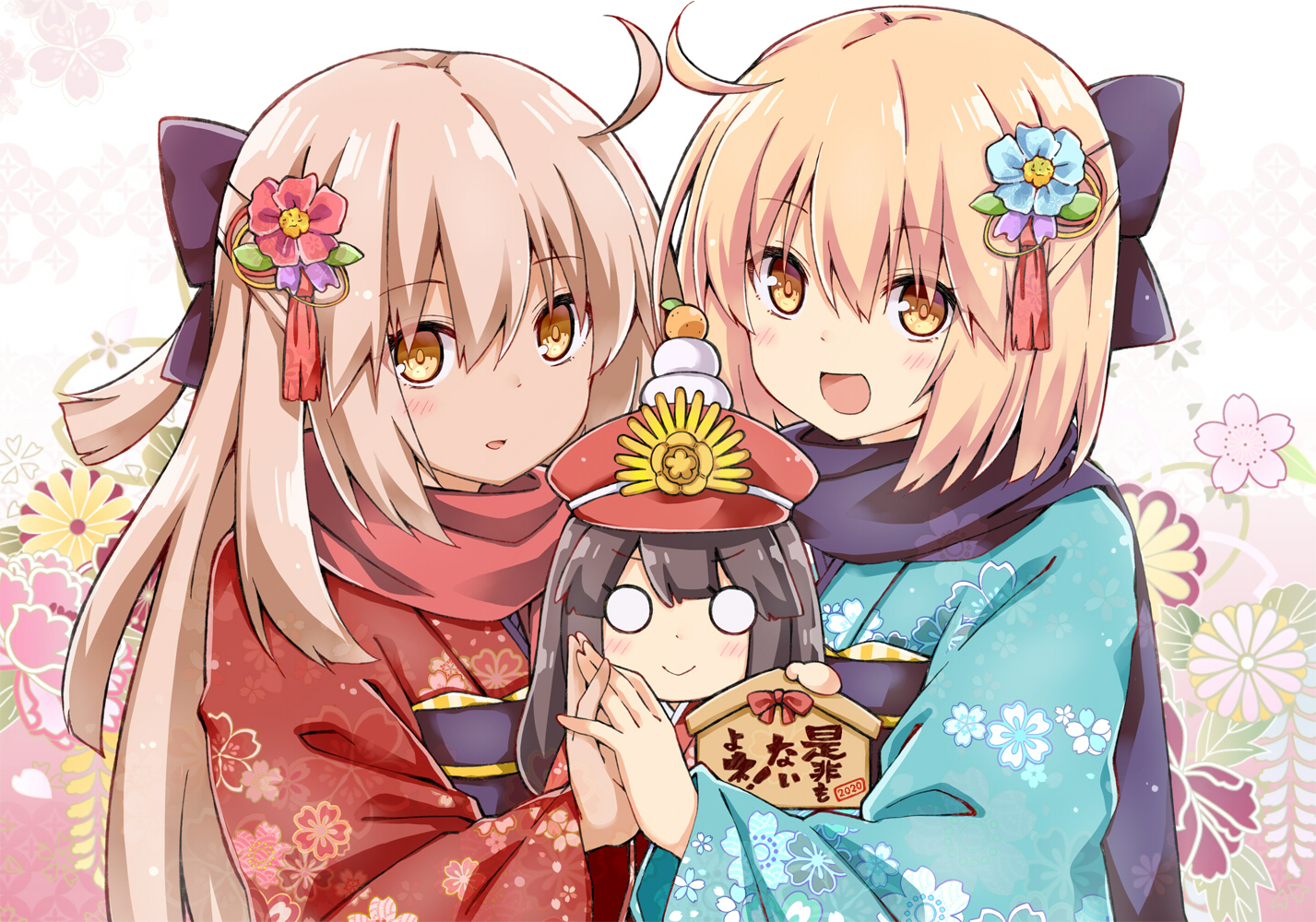 2girls blonde_hair brown_eyes brown_hair fate/grand_order fate_(series) flowers japanese_clothes long_hair nobunaga_oda_(fate) okita_souji_alter okita_souji_(fate) rioshi short_hair