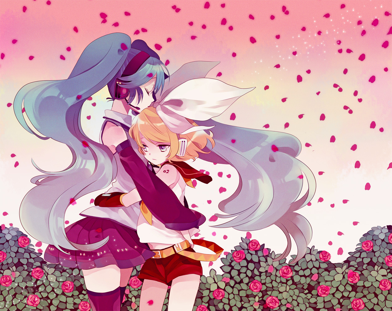 blonde_hair flowers green_hair hatsune_miku headphones kagamine_rin long_hair petals ribbons rose short_hair shorts skirt thighhighs twintails vocaloid