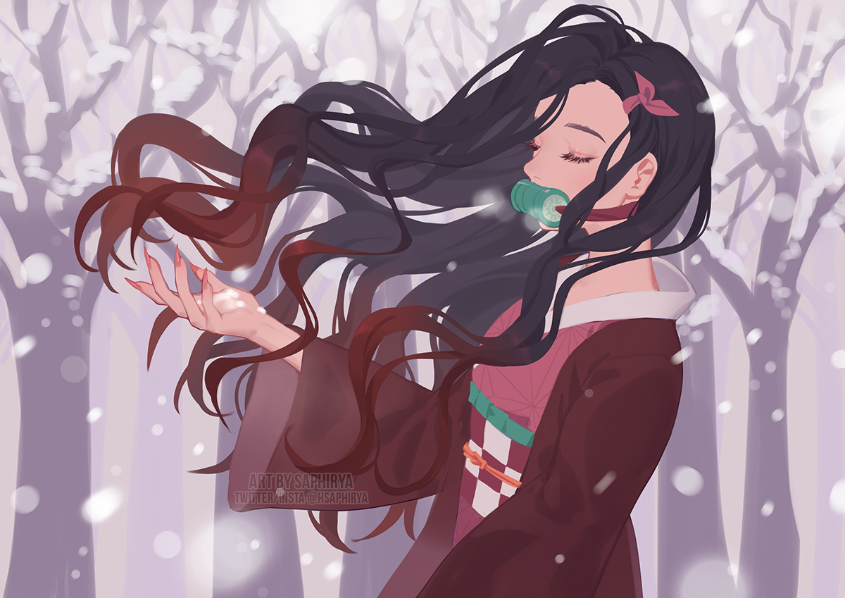 black_hair gag japanese_clothes kamado_nezuko kimetsu_no_yaiba kimono long_hair saphirya snow watermark