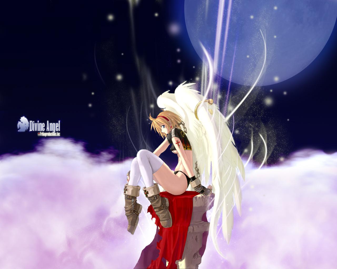 blonde_hair blue_eyes chain clouds cross headband moon night short_hair sky thighhighs underboob wings